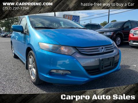 2010 Honda Insight for sale at Carpro Auto Sales in Chesapeake VA