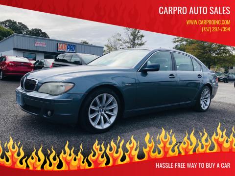 2007 BMW 7 Series for sale at Carpro Auto Sales in Chesapeake VA