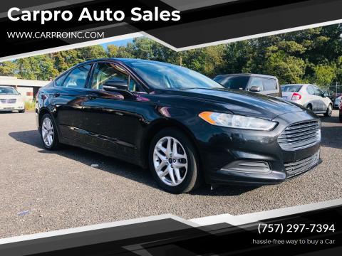 2014 Ford Fusion for sale at Carpro Auto Sales in Chesapeake VA