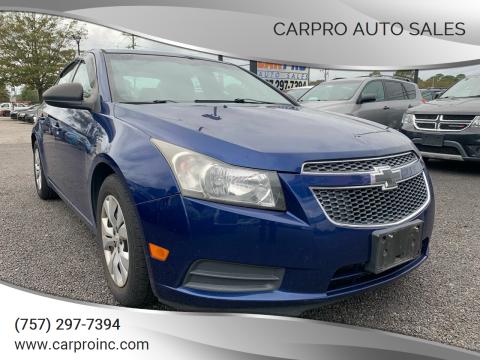 2012 Chevrolet Cruze for sale at Carpro Auto Sales in Chesapeake VA