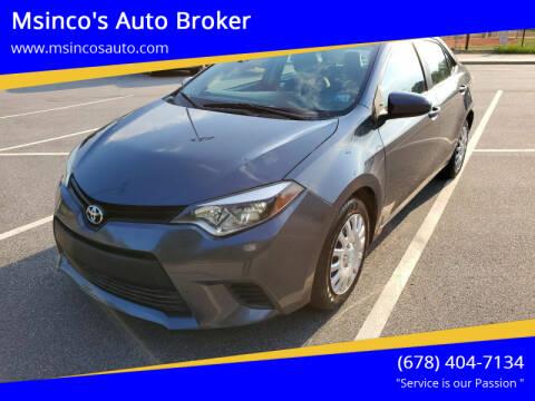 2014 Toyota Corolla for sale at Msinco's Auto Broker in Snellville GA