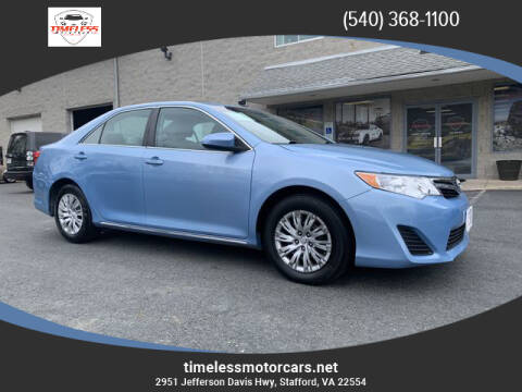 2013 Toyota Camry for sale at TIMELESS MOTORCARS in Stafford VA