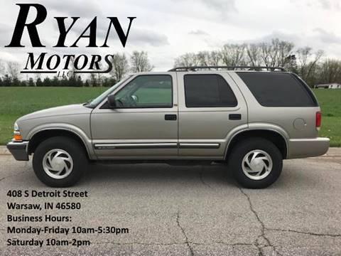 2001 Chevrolet Blazer for sale at Ryan Motors LLC in Warsaw IN
