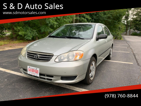 2003 Toyota Corolla for sale at S & D Auto Sales in Maynard MA