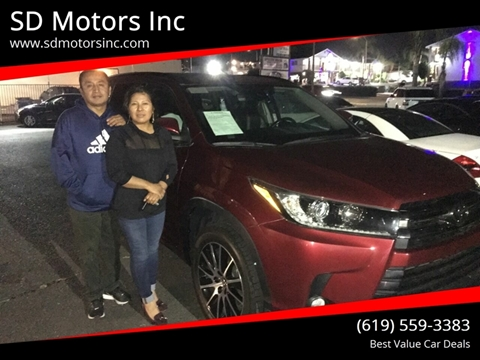 2017 Toyota Highlander for sale at SD Motors Inc in La Mesa CA