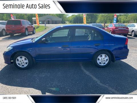 2005 Honda Civic for sale at Seminole Auto Sales in Seminole OK