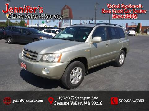 2001 Toyota Highlander for sale at Jennifer's Auto Sales in Spokane Valley WA