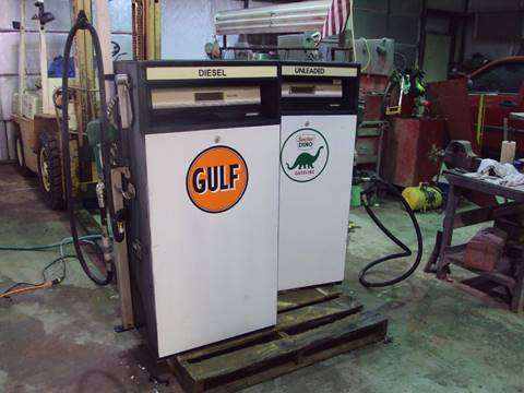 ANTIQUE GAS PUMPS WITH DECALS for sale at BENHAM AUTO INC - Peace of Mind Treasures and More Store in Lubbock TX