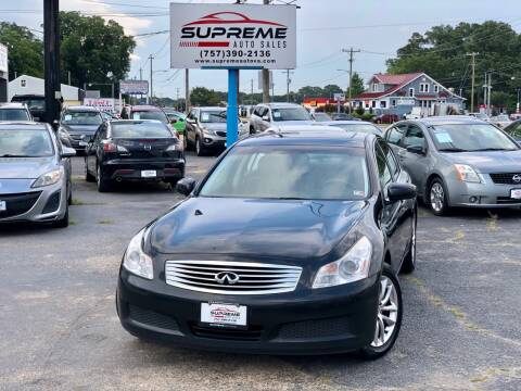 2008 Infiniti G35 for sale at Supreme Auto Sales in Chesapeake VA