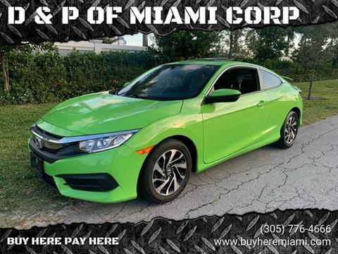 2016 Honda Civic for sale at D & P OF MIAMI CORP in Miami FL