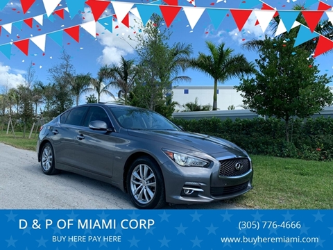 2014 Infiniti Q50 Hybrid for sale at D & P OF MIAMI CORP in Miami FL