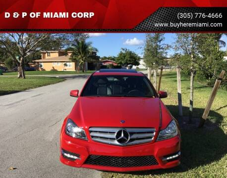2013 Mercedes-Benz C-Class for sale at D & P OF MIAMI CORP in Miami FL