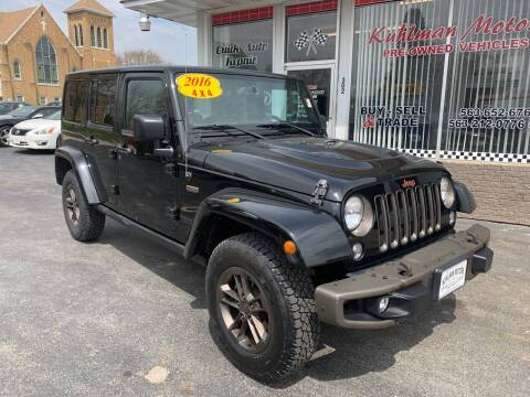 2016 Jeep Wrangler Unlimited for sale at KUHLMAN MOTORS in Maquoketa IA