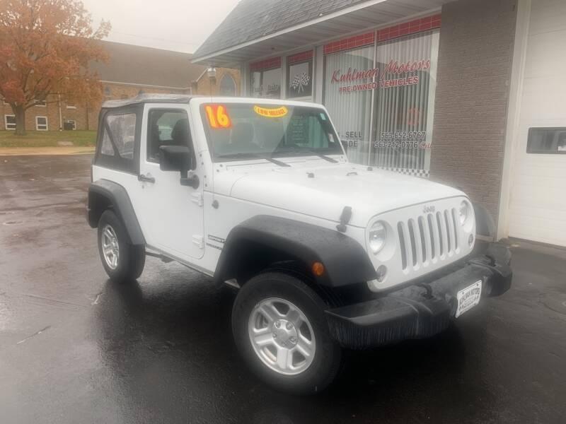 2016 Jeep Wrangler for sale at KUHLMAN MOTORS in Maquoketa IA