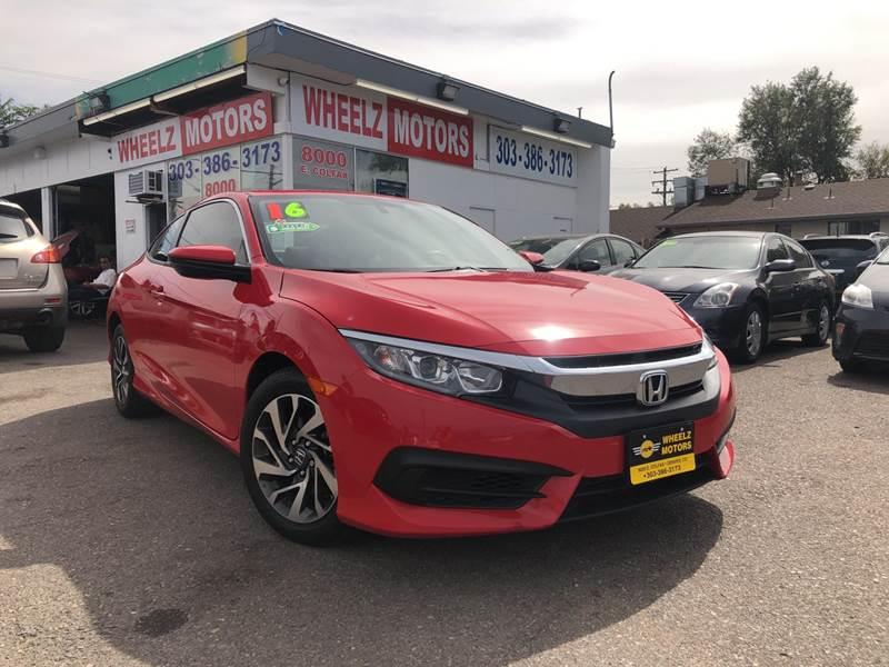 2016 Honda Civic for sale at Wheelz Motors LLC in Denver CO