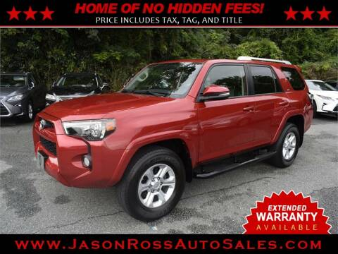 2016 Toyota 4Runner for sale at Jason Ross Auto Sales in Burlington NC