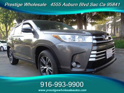 2017 Toyota Highlander for sale at Prestige Wholesale in Sacramento CA