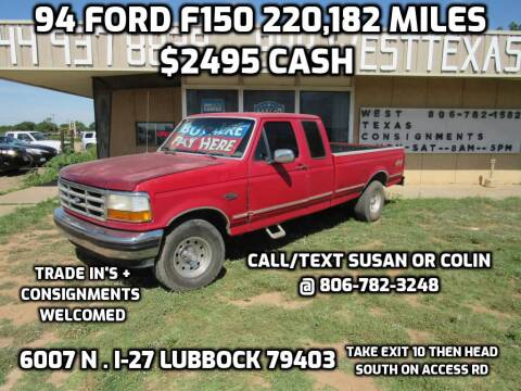 1994 Ford F-150 for sale at West Texas Consignment in Lubbock TX