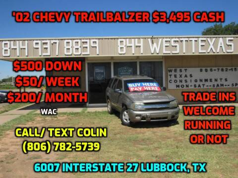 2002 Chevrolet TrailBlazer for sale at West Texas Consignment in Lubbock TX