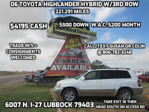2006 Toyota Highlander Hybrid for sale at West Texas Consignment in Lubbock TX