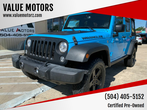 2017 Jeep Wrangler Unlimited for sale at VALUE MOTORS in Kenner LA