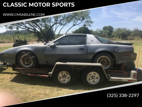 1988 Pontiac Trans Am for sale at CLASSIC MOTOR SPORTS in Winters TX