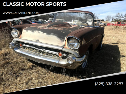 1957 Chevrolet Bel Air for sale at CLASSIC MOTOR SPORTS in Winters TX