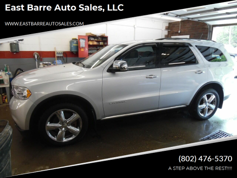 2011 Dodge Durango for sale at East Barre Auto Sales, LLC in East Barre VT