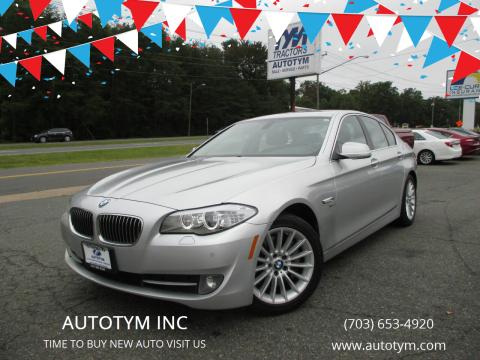 2012 BMW 5 Series for sale at AUTOTYM INC in Fredericksburg VA