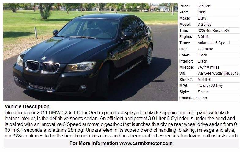 2011 BMW 3 Series 328i In Phoenix AZ  Car Mix Motor Co