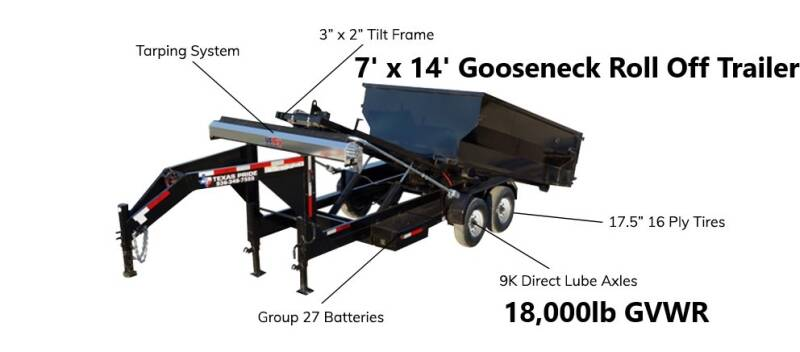2020 TEXAS PRIDE 7'X14' Gooseneck Roll Off 18K for sale at Montgomery Trailer Sales - Texas Pride in Conroe TX