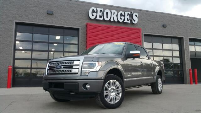 2013 FORD F-150 PLATINUM 4X4 4DR SUPERCREW STYLE gray carfax no accidents 4wd super stuff schle