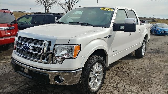 2011 FORD F-150 LARIAT 4X4 4DR SUPERCREW STYLESI white platium carfax 1 owner and no accidents 4w