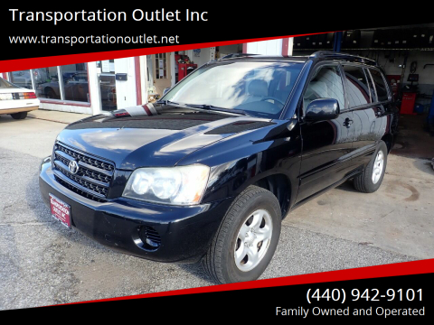2003 Toyota Highlander for sale at Transportation Outlet Inc in Eastlake OH