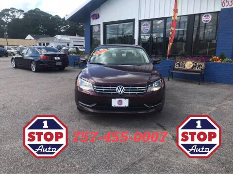 2013 Volkswagen Passat for sale at 1 Stop Auto in Norfolk VA