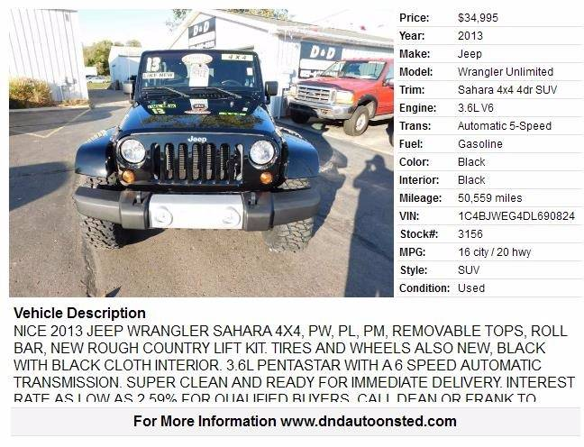 2013 jeep wrangler unlimited 4x4 sahara 4dr suv in onsted mi d 34995 sciox Choice Image