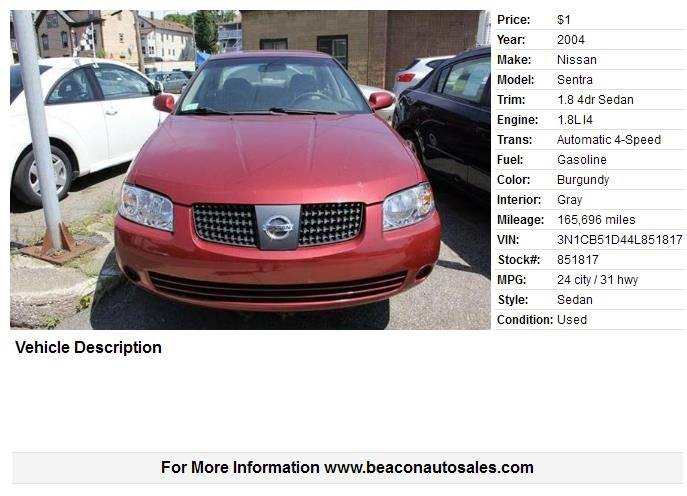 2004 Nissan Sentra 18 4dr Sedan In Worcester Ma Beacon Auto Sales Inc