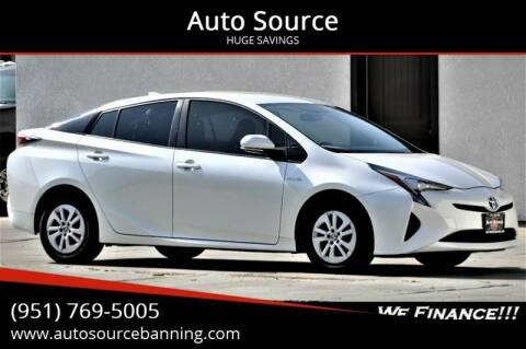 2016 Toyota Prius for sale at Auto Source in Banning CA
