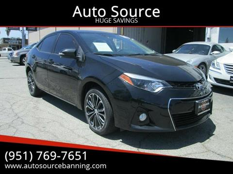 2016 Toyota Corolla S for sale at Auto Source II in Banning CA