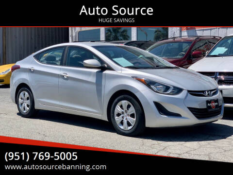 2016 Hyundai Elantra for sale at Auto Source in Banning CA