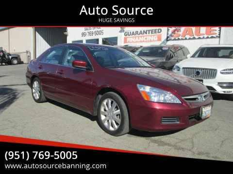 2006 Honda Accord for sale at Auto Source in Banning CA