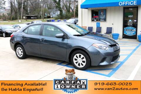2015 Toyota Corolla L for sale at Van 2 Auto Sales Inc in Siler City NC