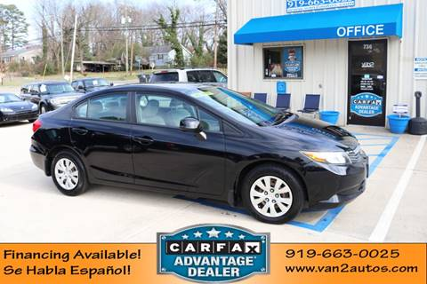 2012 Honda Civic LX for sale at Van 2 Auto Sales Inc in Siler City NC