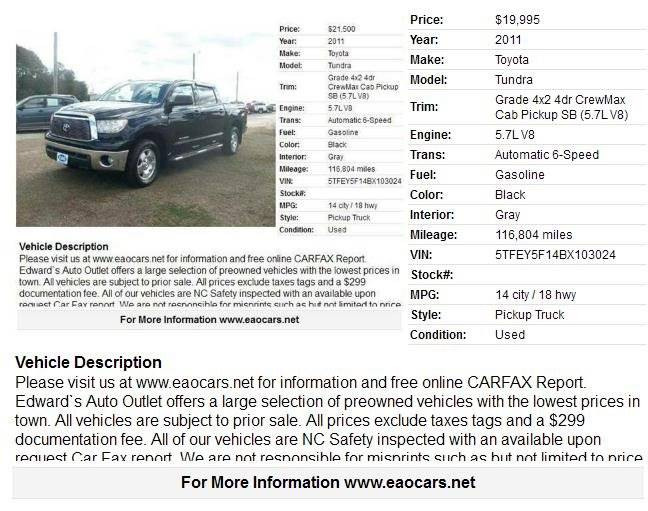 2011 Toyota Tundra 4x2 Grade 4dr CrewMax Cab Pickup SB (5.7L V8) - Wilson NC