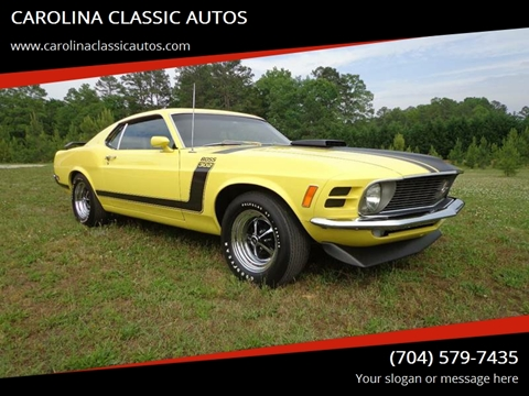 1970 Ford Mustang Boss 302 for sale at CAROLINA CLASSIC AUTOS in Fort Lawn SC
