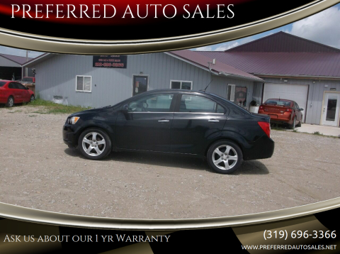 2012 Chevrolet Sonic for sale at PREFERRED AUTO SALES in Lockridge IA