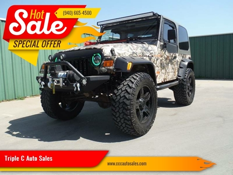 2002 Jeep Wrangler for sale at Triple C Auto Sales in Gainesville TX
