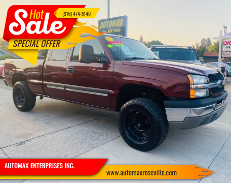 2003 Chevrolet Silverado 1500 for sale at AUTOMAX ENTERPRISES INC. in Roseville CA