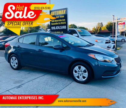 2016 Kia Forte for sale at AUTOMAX ENTERPRISES INC. in Roseville CA