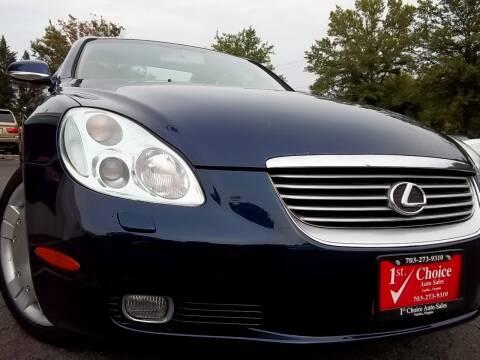 2002 Lexus SC 430 for sale at 1st Choice Auto Sales in Fairfax VA